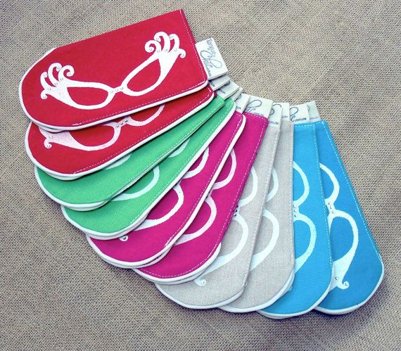 Women's glasses casehandmadehandprinted linen by TongueinChicHome, $13.00