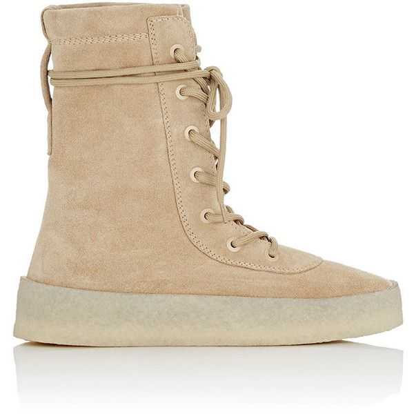Yeezy Men's Crepe-Sole Boots (4,300 CNY) ❤ liked on Polyvore featuring men's fashion, men's shoes, men's boots, tan, mens shoes, mens military boots, mens tan shoes, mens round toe cowboy boots and men's crepe sole boots