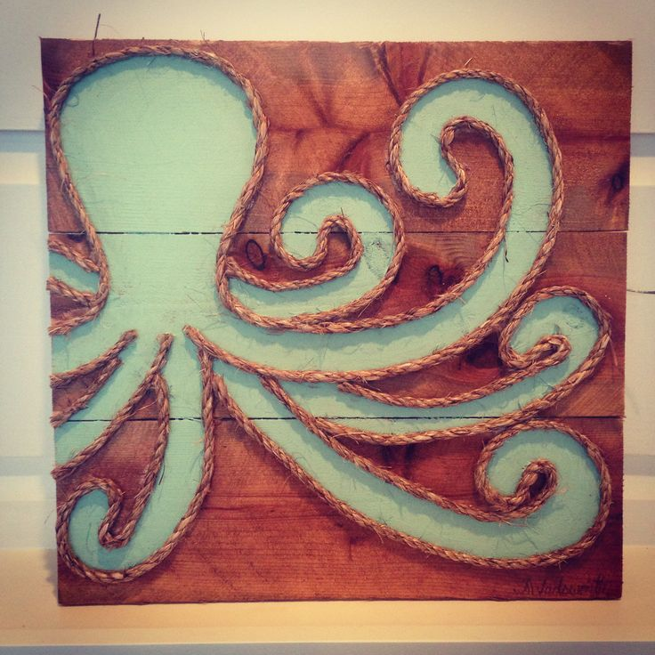 Seaglass Octopus made of rope on wood available at www.mstreetartwork.com