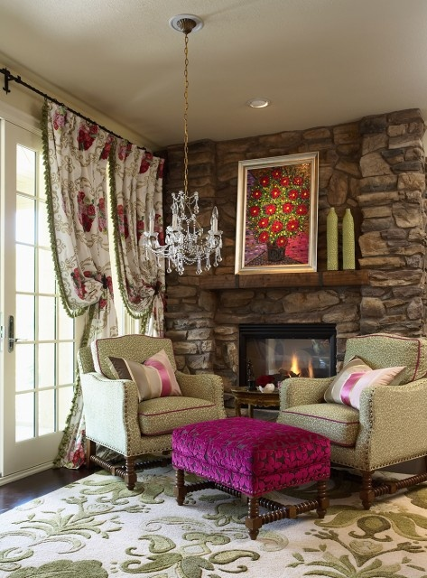 by riehl designs inc a pop of color was brought into this kitchen sitting area by pairing a fuchsia velvet ottoman with a green leopard print set of arm