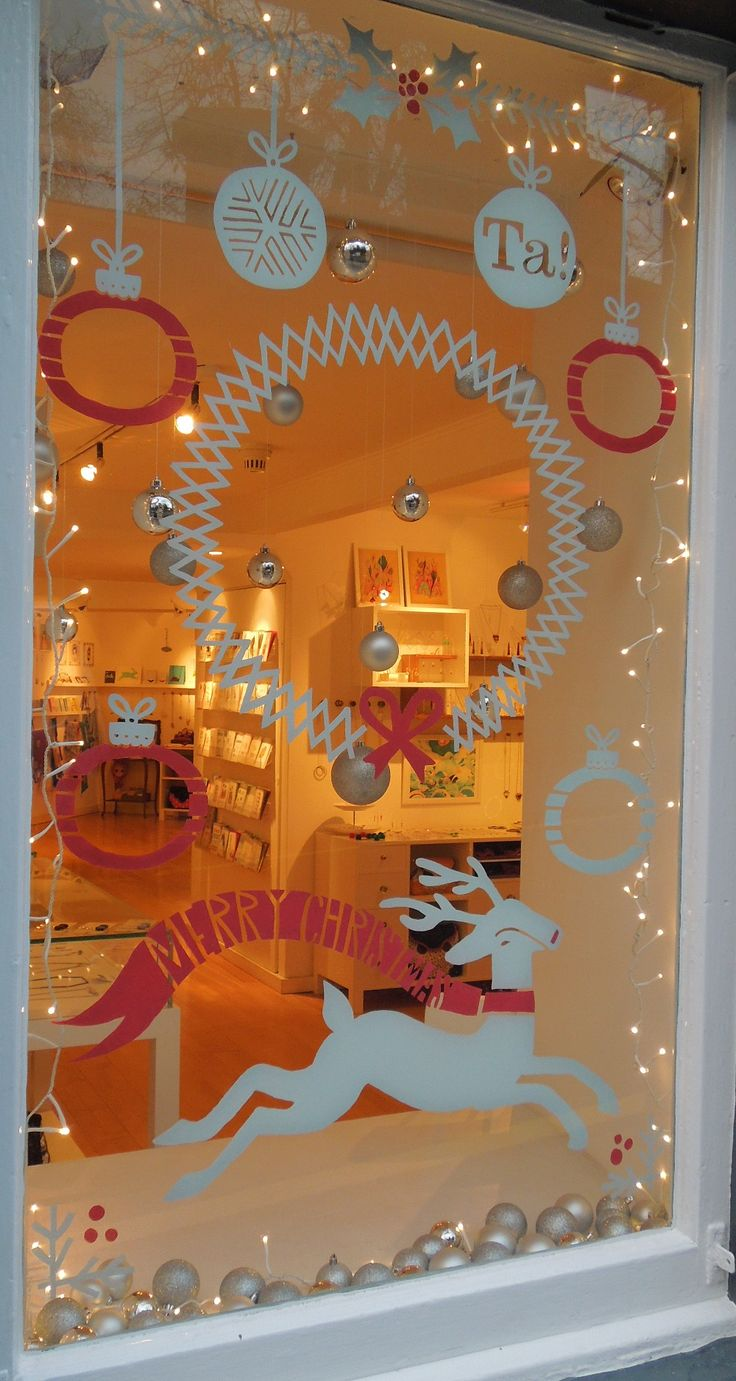Hand drawn by Gill - 2012 Christmas Window #window #display #design #ideas