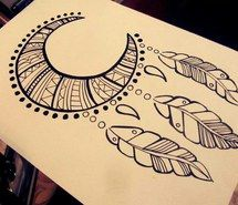 Pretty Dreamcatchers Drawing Moon - image #2491348 by miss_dior on favim.com