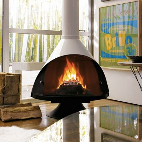Sleek freestanding fireplaces designed by Malm