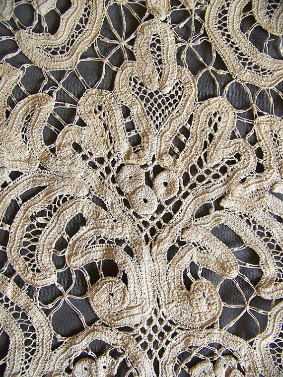 antique lace tablecloth detail