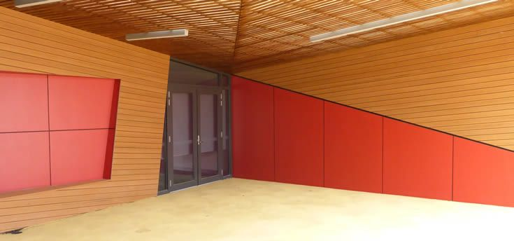 Sahara; facade over school buildings #ModWood #88mm #Screen #Fence