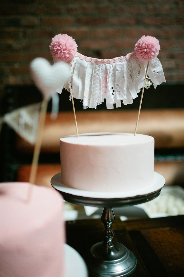 lace fabric + pom cake topper // photo by Shannen Norman