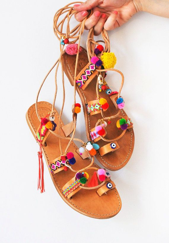 Bohemian Pom Pom Sandals / Tie up Sandals/ Handmade by Youniquegr