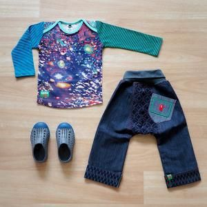 Galaxy LS T Shirt, Amazenthings Chubba Jean, Native Jefferson Kids Dublin Grey/Trench Blue, Oishi-m Clothing for Kids, Autumn 18, www.oishi-m.com
