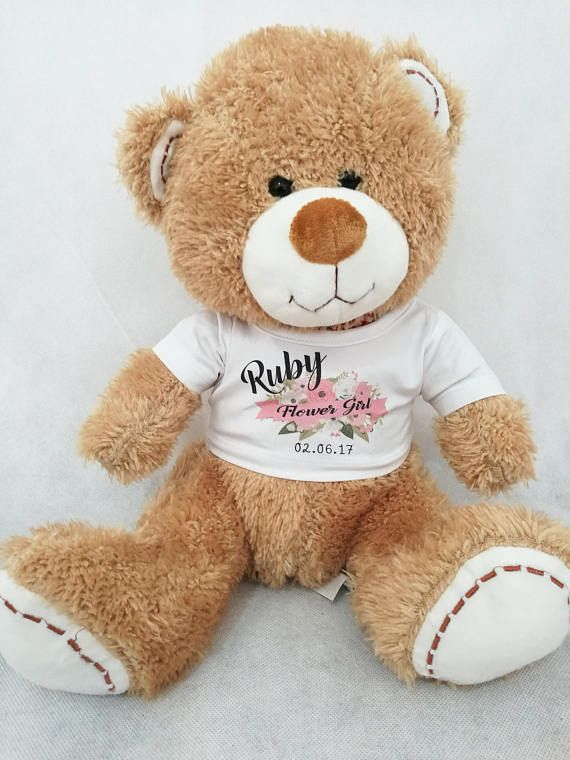 Personalised flower girl gift, Personalised teddy bear, bridesmaid gift, Children's wedding gift, Flower girl gift, bridesmaid gift Introducing our beautiful personalised teddy bears Great gifts for flower girls, and bridesmaids each bear can be personalised with name, role and