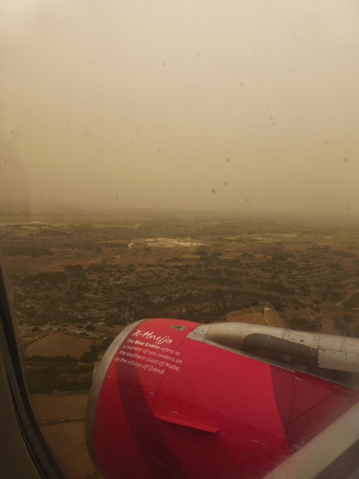 An unusually dusty view while landing in Malta during a sandstorm. Minibeartravels.com, May, 2013.