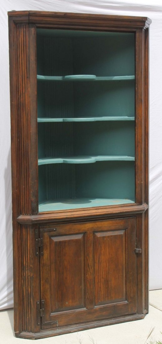 great early ca 1750 CT pine corner cupboard featuring 21