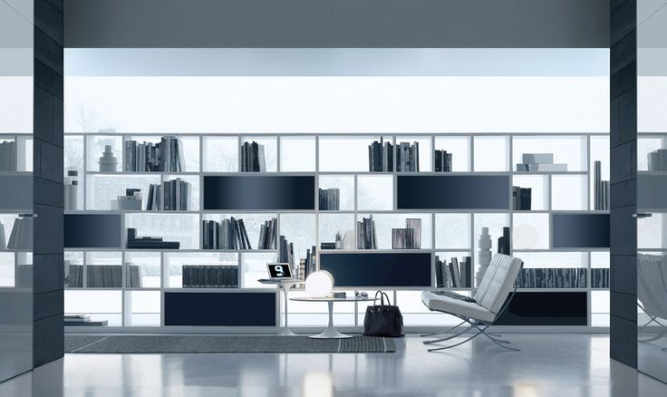 Opus composition in white aluminium, horizontal cabinet units with doors and backs in blu polvere lacquered glass.