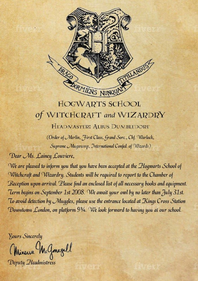 Create personalized hogwarts acceptance letter nel 2020