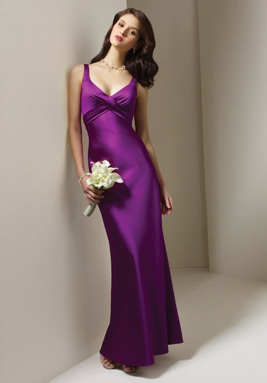 Cheap Bridal Shop 2013 Purple Mermaid Empire Satin Floor Length Bridesmaid Gowns