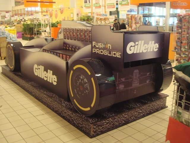 The Car Store >> Temporary POS Display - 3D Design - Cardboard Design - In-Store Display - Gillette Fusion F1 Car ...