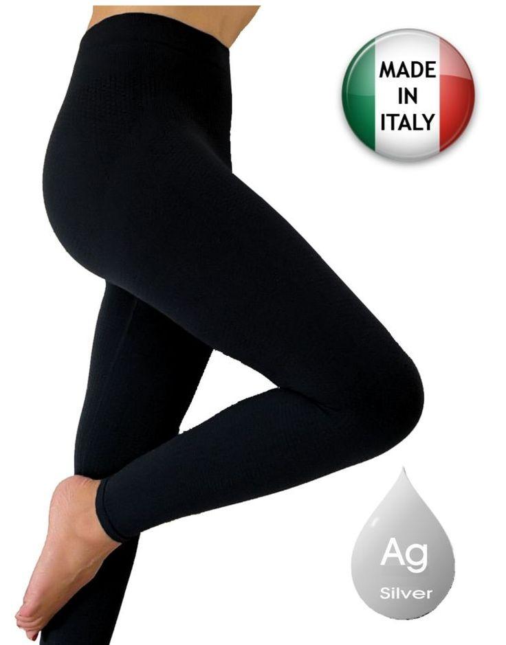 Pantaloncino lungo anticellulite dimagrante, contenitivo con argento, leggings snellente anticellulite