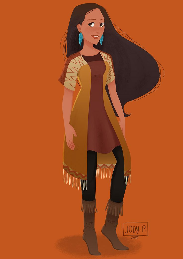 """ Modern Disney Princesses"" Illustration Series by Jody Pangilinan - 9) Pocahontas, Pocahontas """
