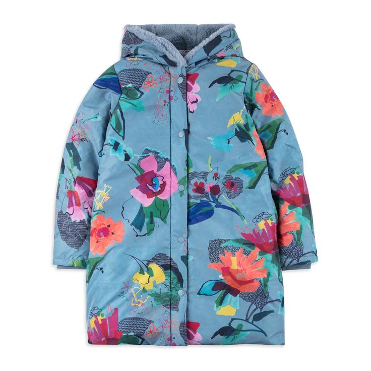 OILILY Girls 'Cobble' Coat - Blue From £162 Girls hooded coat • Soft woven fabric • Water repellent • Zip and popper fastening • Warm fleece lining • Colourful floral print • Material: 100% Polyester