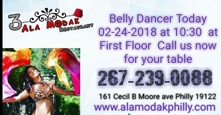Today belly dancer and music DJ Don't miss same 2nd floor will be First Floor Today only 02-24-2018 (2nd Floor close for  private event only Today ) Call us now for your table at  267-239-0088  Alamodak Restaurant and lounge  Byob  Free Entry but minimum charge at table.  www.alamodakphilly.com #fishtownphillyfood #fishtown #philly #lovephilly #vistphilly #wow #halal #open #party #order #avocado #food #phillybest #foodphilly #Groupon #eat24 #tripvstor #PA #nyc #friend #hookah #phillyhookah…