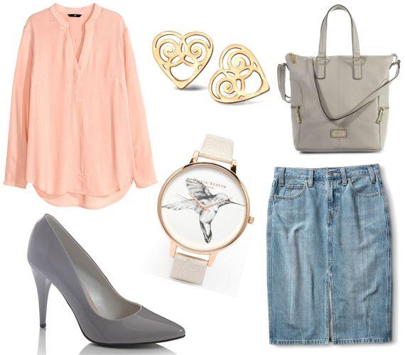 Trzy stylizacje: jeansowa spódnica do pracy Łososiowa koszula i szarość. Estetyczne, wiosenne bingo, elegancko obchodzące się z pastelami.  Więcej na Moda Cafe!