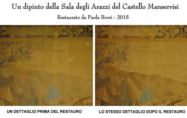 Differenze prima e dopo un restauro al Castello Manservisi di Castelluccio, Porretta Terme (BO)