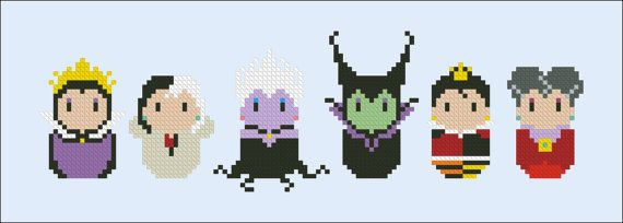 Disney Evil Villains parody Cross stitch PDF by cloudsfactory