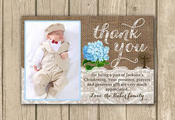 Christening thank you card PRINTABLE by DulceGracePrintables