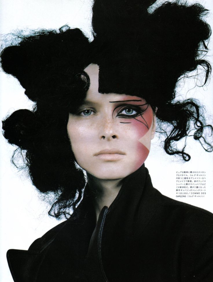 """""""Code Red,"""" Tasha Tilberg photographed by Tesh for Vogue Nippon September 2001, with makeup by Pat McGrath"""