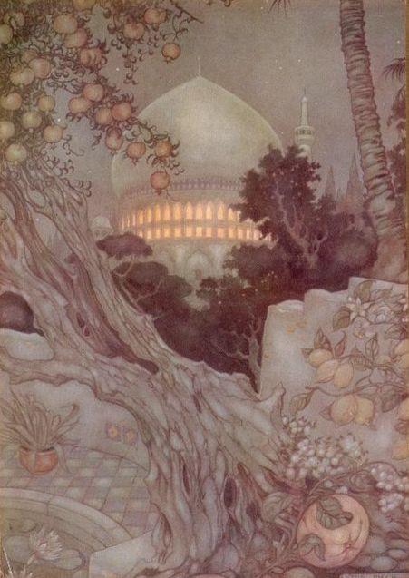 The Arabian Nights - Het paleis waar Sheherazade nog steeds vertelt - Illustratie door Anton Pieck