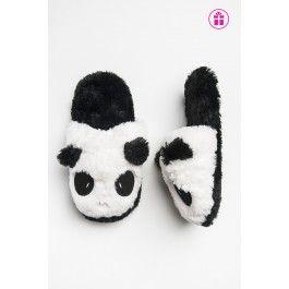 Panda slip on fur slippers