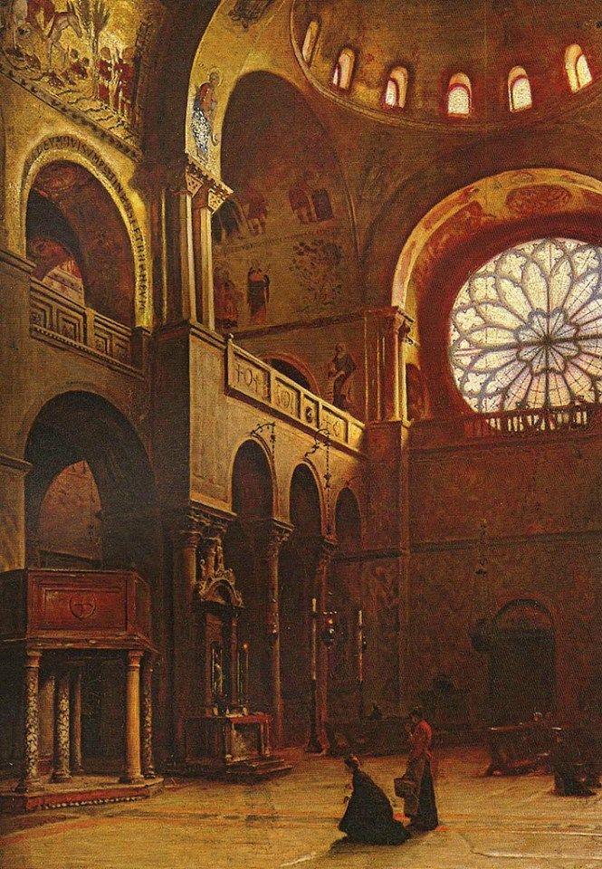 Venice Basilica San Marco interior by Aleksander Gierymski (1850-1901)