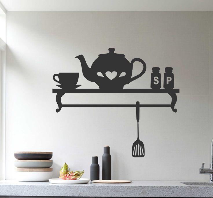 Decorative Faux Teapot Shelf | Vinyl Wall Lettering | Kitchen Decal