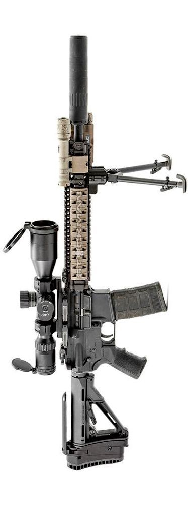 Enhanced M4A1/ MK12 hybrid by Stickman. Centurion barrel, Daniel Defense RIS II, Trijicon TARS, AAC suppressor, Smith Enterprise bipod, Battleline Industries stock adapter, SureFire Scout with Gear Sector mount.