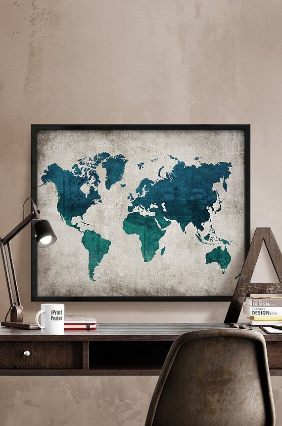 108 best world map posters images on pinterest room wall decor world map print large world map art print world by iprintposter gumiabroncs Gallery