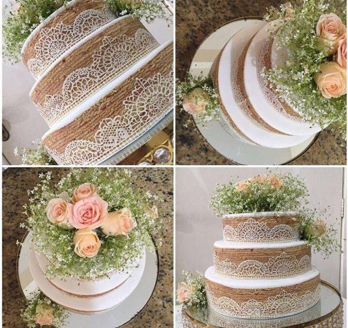 Bolo de casamento inspirado no bolo de rolo pernambucano