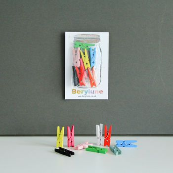 Multicoloured Mini Wooden Pegs