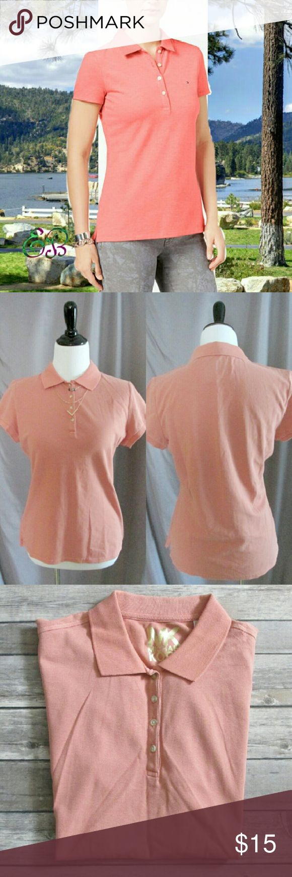 """""""Tee Off"""" Polo Top Muted peach polo in the standard style. Has a comfortable light waffle knit. A great top for home or office. NWOT.  """"Princess Layer"""" necklace also available. Bundle for discount.   DD 7.1.17 MICHAEL Michael Kors Tops Blouses"""