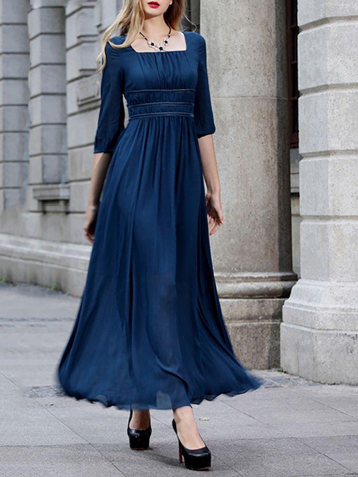 Plain Chiffon Maxi Dress - Maxi Dresses - Dresses