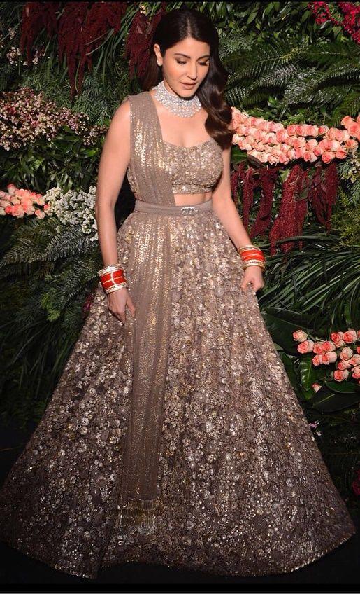 3e29bdd2cd Bollywood actress Anushka Sharma in a smokey grey lehenga by Sabyasachi  Mukherjee #tulle #embroidered #anushkasharma #virtakohli #virushka ...