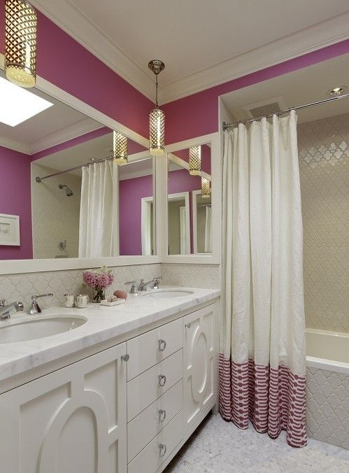love this bathroom cabinet, counter and tile: Bathroom Design, Modern Bathroom, Color, Bathroom Ideas, White Bathroom, Shower Curtains, Girls Bathroom, Design Bathroom, Pink Bathroom