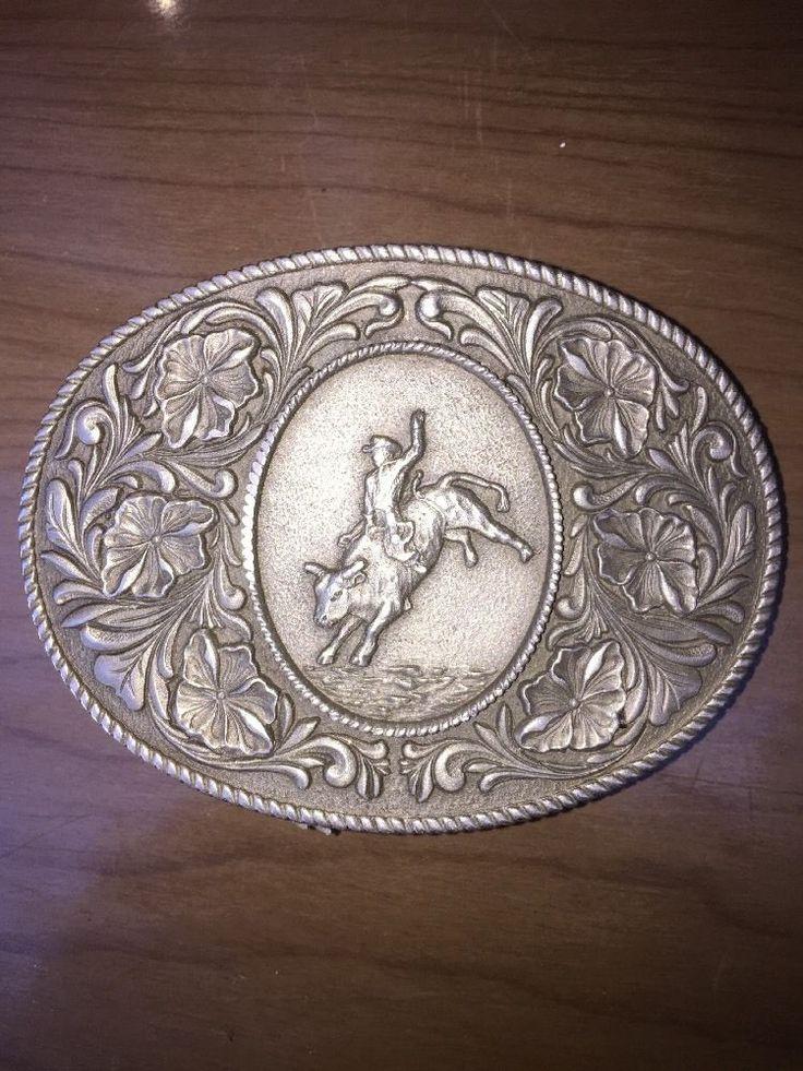 Large Vintage Western Cowboy Bucking Bull Rider Belt Buckle Pewter  | eBay