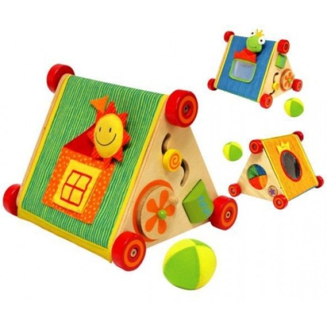 This wooden activity bay by I'm Toy features a fun discovery roller, which has double activity triangular boards, a soft activity panel and a touch-and-tell ball. It will aid young children in developing their visual and motor skills while enjoying multiple activities, with its safe mirror, spinning cylinder, peek-a-boo window, and soft touch-and-tell game. #entropytoys #woodentoys #woodenwonders http://www.entropy.com.au/i-m-toy-tip-top-triangle-wooden-activity-baby-toy