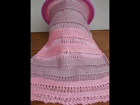 knitting loom : drop stitch poncho, english language - YouTube