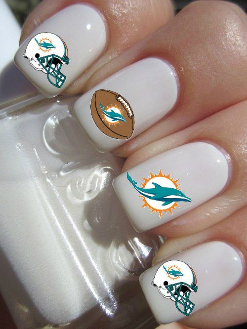 FOR ME!!! Miami Dolphins Nail decals- NEW LOGO