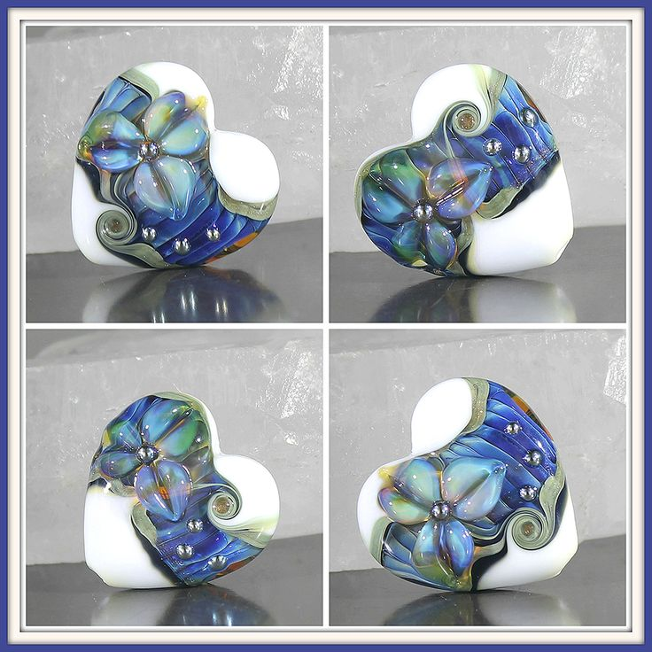 Pleated lampwork heart bead White and blue