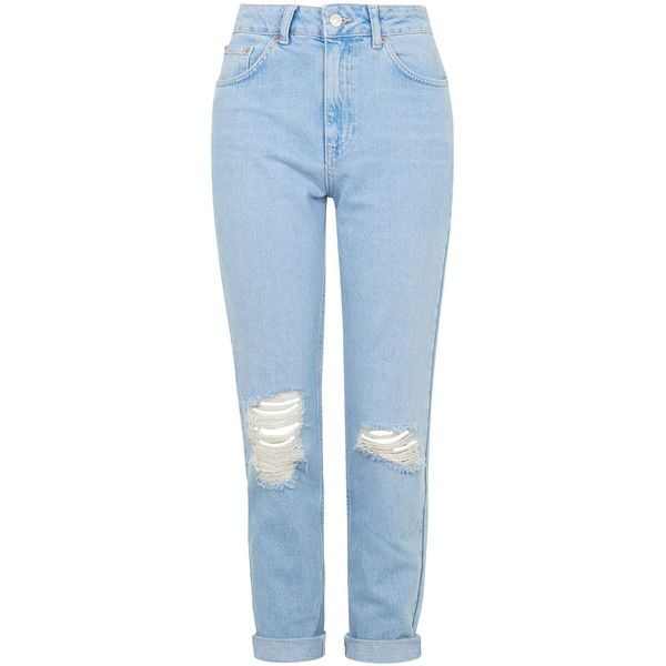 TOPSHOP MOTO Pretty Blue Ripped Mom Jeans ($63) ❤ liked on Polyvore featuring jeans, pants, bottoms, trousers, blue, button fly jeans, torn jeans, tapered leg jeans, distressing jeans and high waisted destroyed jeans