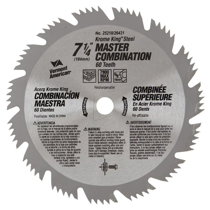 """Vermont American 25210 7-1/4"""" 64T Krome King Master Combination Circular Saw Blade"""