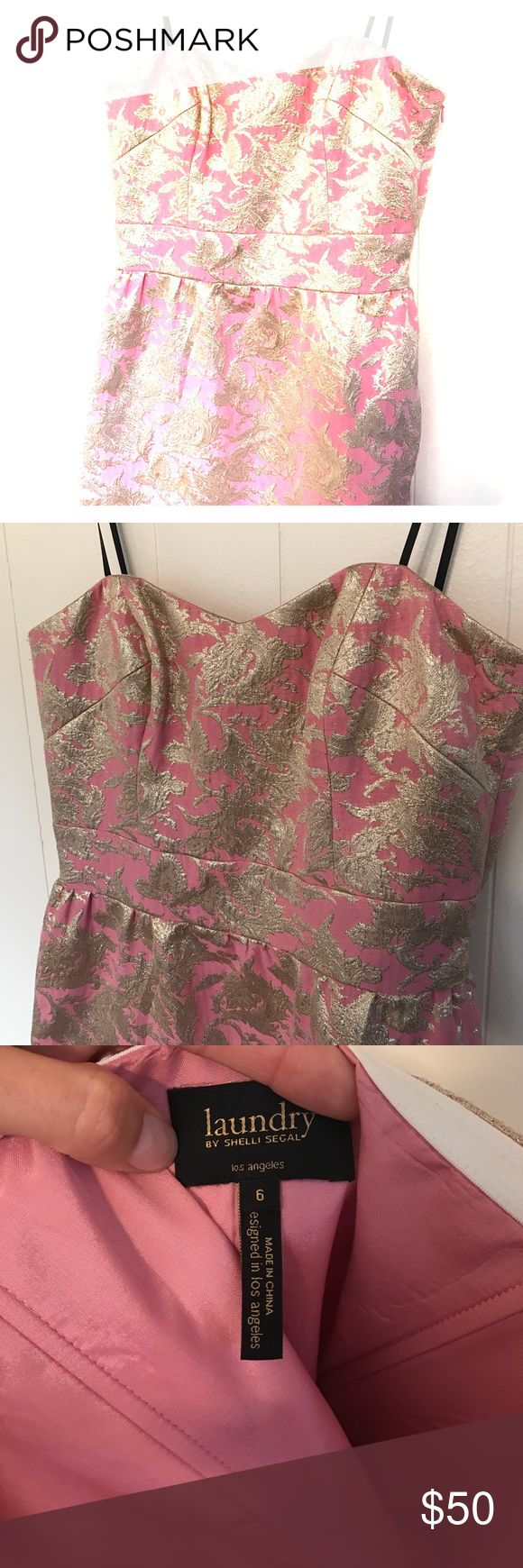 Strapless dress Laundry by Shelli Segal Strapless dress, Laundry by Shelli Segal. Gorgeous gold pattern on pink background. Excellent condition. Perfect for a party or wedding. Laundry by Shelli Segal Dresses Strapless