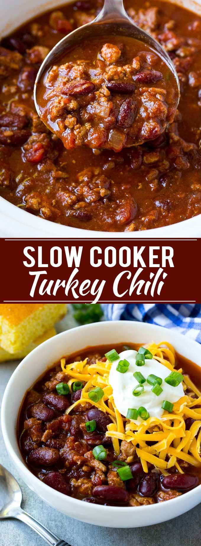Slow Cooker Turkey Chili Recipe | Crockpot Chili | Turkey Chili | Chili With Beans Recipe | Healthy Chili Recipe