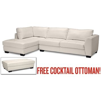 Ciera III Leather 2 Pc. Sectional (Reverse) plus Free Ottoman - Value City Furniture $699.00